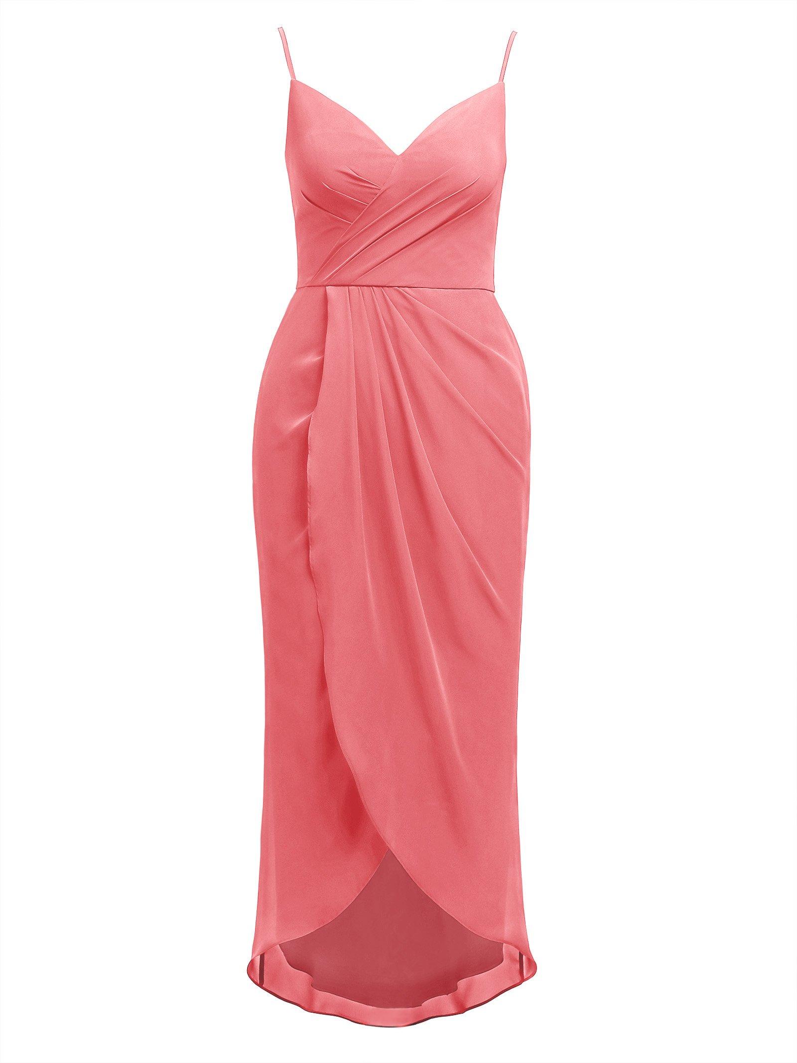 Alicepub Hi-Lo Chiffon Bridesmaid Dress Womens Spaghetti Bridal Party Evening Gown
