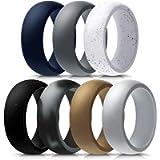 Mokani Silicone Ring for Men, 7-Pack Step Edge Sleek Design Rubber Wedding Bands, Comfortable Fit Skin Safe Durable…