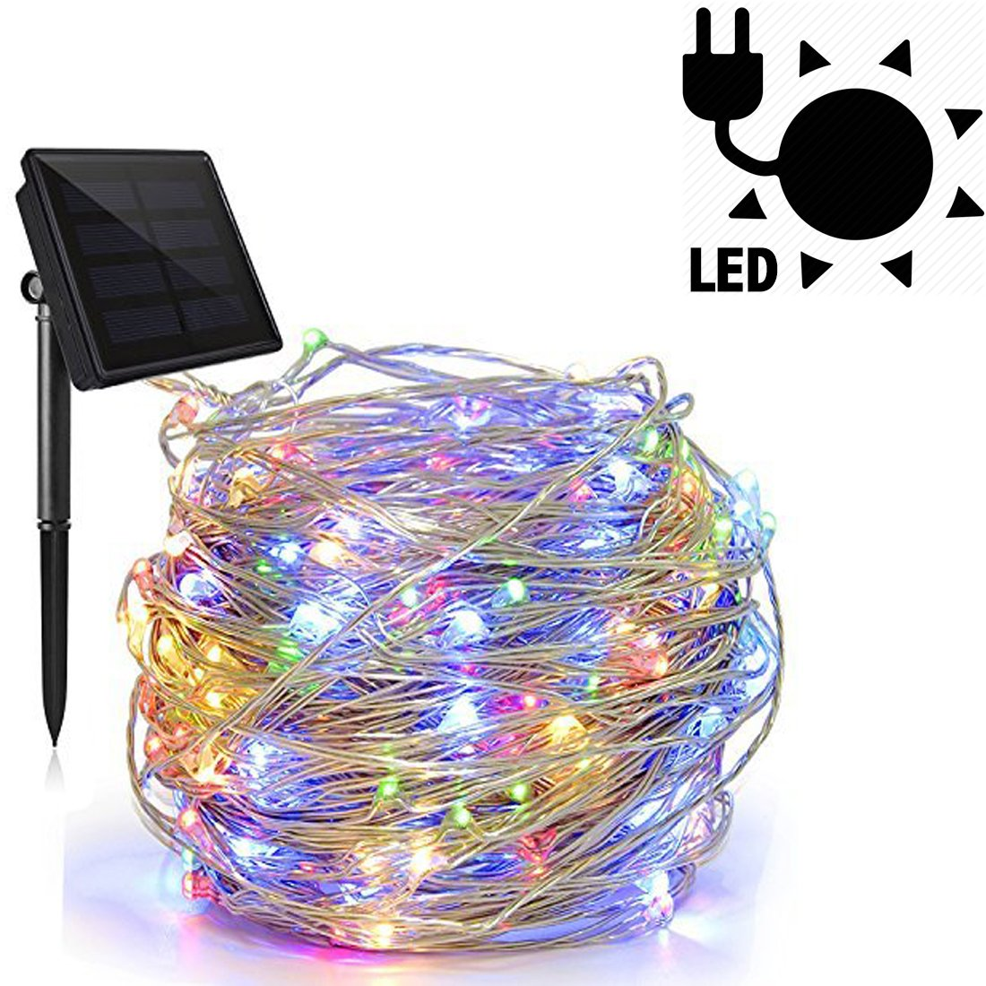 DIFEN Solar Powered String Lights, 72ft 22m 200 LED 8 Modes, Starry String Lights, Indoor/Outdoor Waterproof Solar Decoration Lights for Gardens, Home, Party Decorative (Multicolor-A - Solar Power)