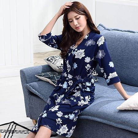 DWLXSH Albornoz de algodón para Mujer Batas Suaves, Albornoz de Primavera y Verano Camisón Algodón de Manga Larga Sección Delgada Algodón Pijamas Largos de Gran tamaño (Size : XXXL): Amazon.es: Hogar