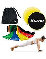 XGEAR 2 Disques De Glisse Double Face et 5 Bandes de Boucles d'exercice Professionnel-pour Entraînement Abdomen Jambes Fesse Utilisation sur Tapis Ou Sols Durs