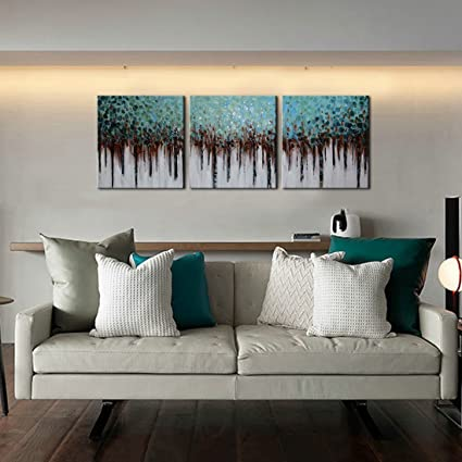 Amazon.com: ARTLAND 100% Hand Painted framed Wall Art Blue Forest 3 ...