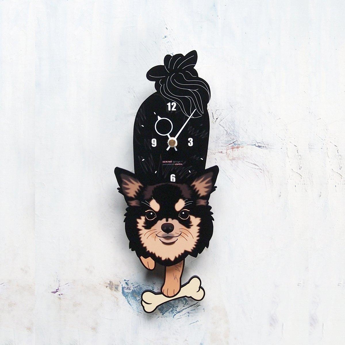 D-49 チワワ白黒(長毛)-犬の振り子時計 B0146ETAYC