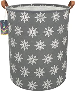 """HKEC 19.7""""Waterproof Foldable Storage Bin, Dirty Clothes Laundry Basket, Canvas Organizer Basket for Laundry Hamper, Toy Bins, Gift Baskets, Bedroom, Clothes, Baby Hamper (Gray Polygon)"""
