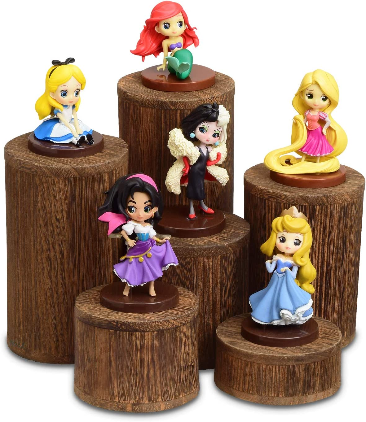 Mooca Wooden 6 Pcs Round Risers for Display Jewelry and Accessories Display Stand Wooden Display Risers, Wood Jewelry Risers Wood Figurine Display Risers, Brown