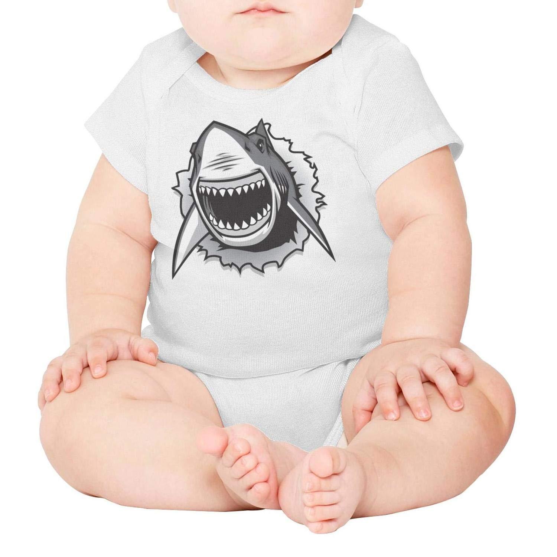 Mako Shark Toothy Shark Baby Unisex White Short Sleeve Cotton Newborn Bodysuit