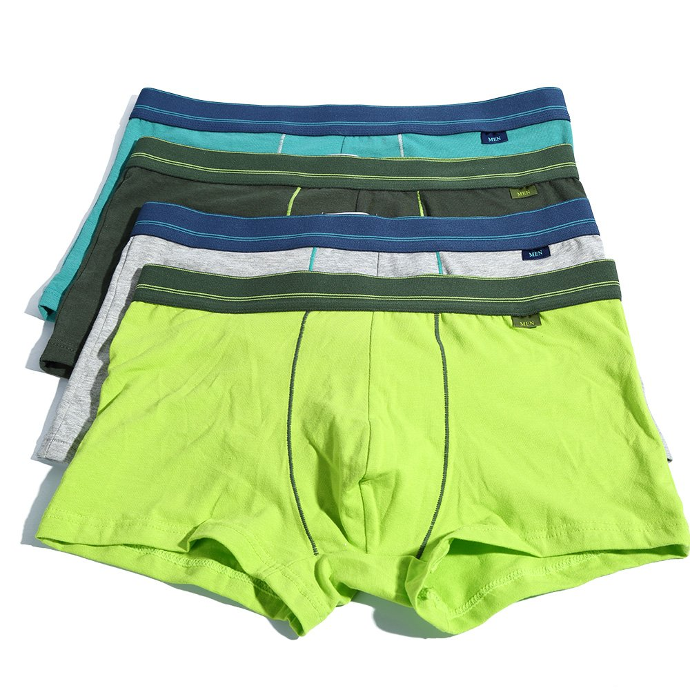 DODOMIAN Boxer Brief 4-Pack for Men Comfort Cotton Elasic Boxers Underwear