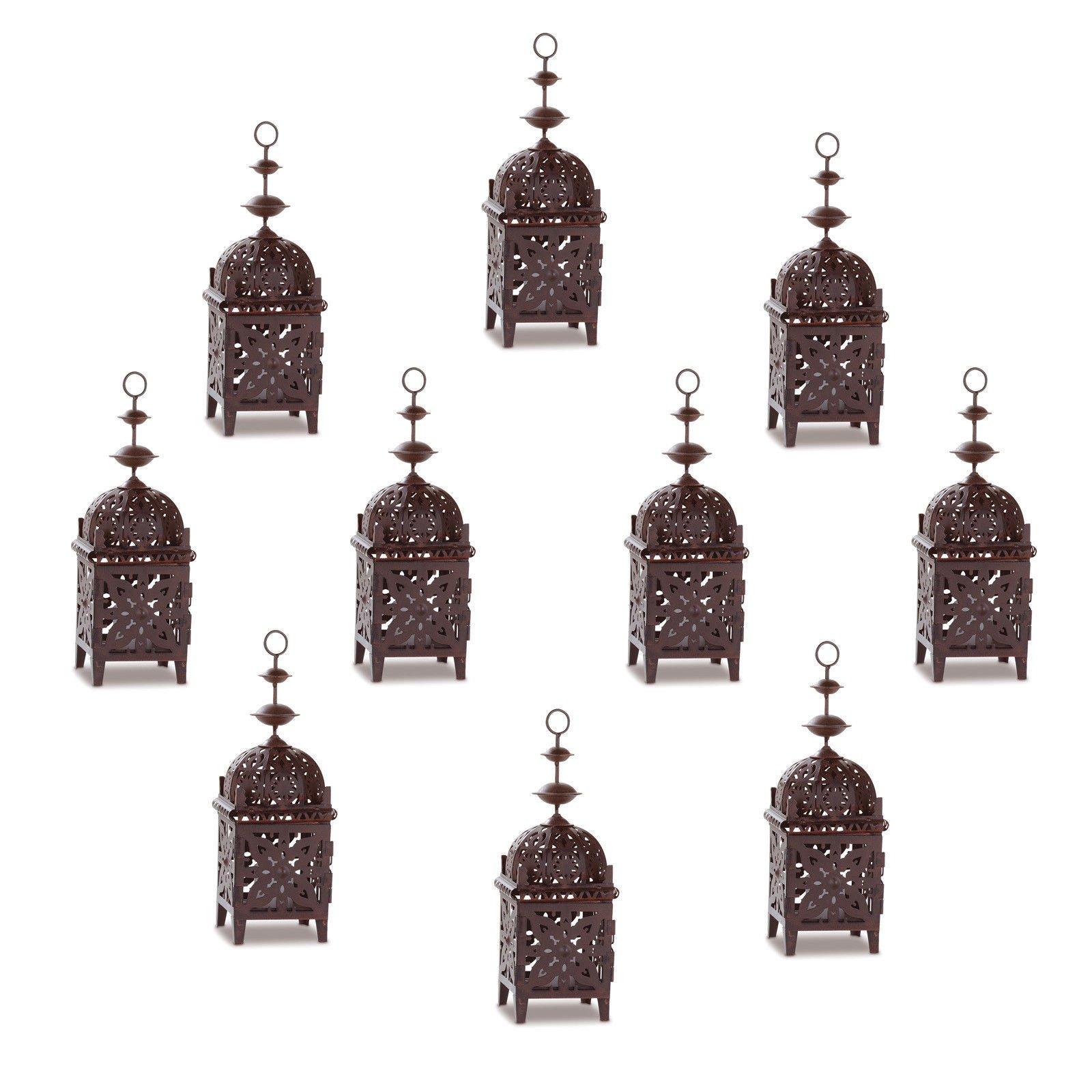 BUNITA, 10 Iron Moroccan Style Metal Cutout MEDALLION Wedding Votive Candle Lanterns,Wedding Lanterns