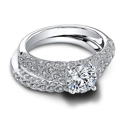 1,30 Ct corte redondo anillo de compromiso de diamantes Moissanite 14 K oro blanco