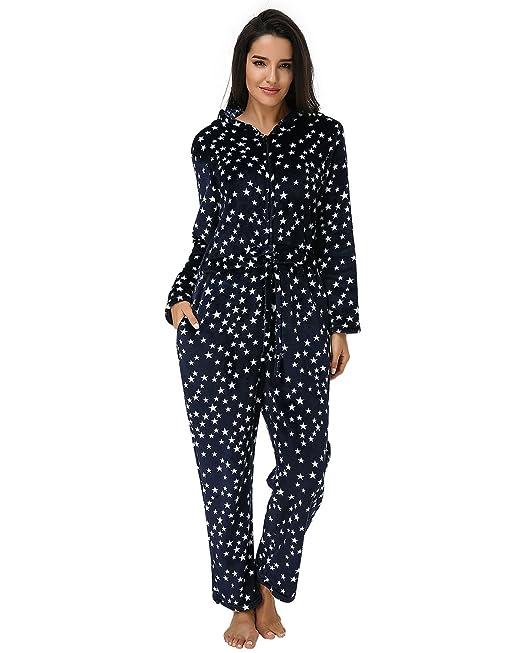 Auxo Mono Pijama Mujer Invierno Espesamiento Sleepwear Capucha Impreso Grueso Mangas Larga Dormir Traje Casual Azul ES 48/Asia 3XL: Amazon.es: Ropa y ...