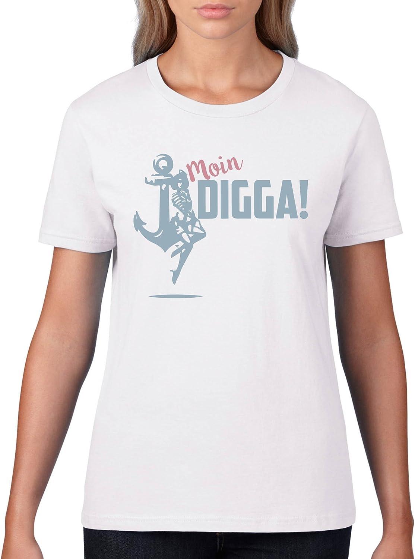 Kurzarm Top Basic Print-Shirt 100/% Baumwolle Rundhals Moin Digga Anker Damen T-Shirt Comedy Shirts