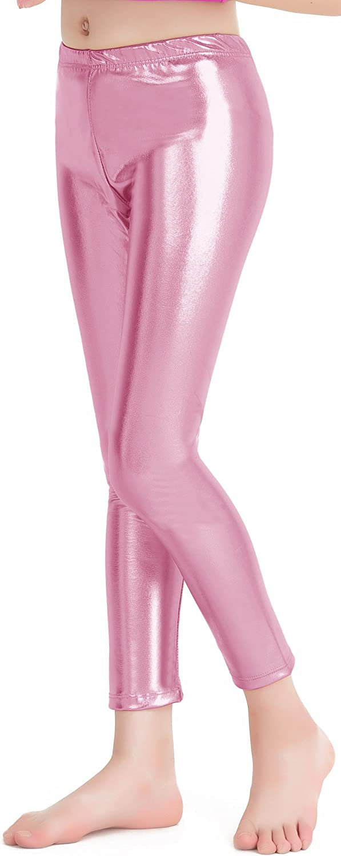 speerise Girls Kids High Waisted Shiny Metallic Dance Fashion Leggings