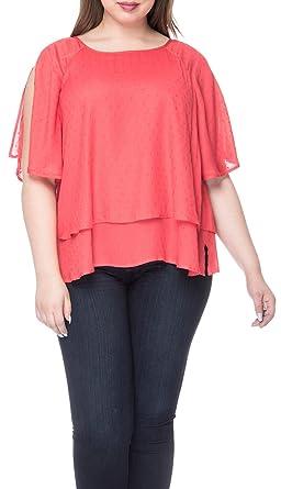 c010df06027a9 Bobeau Sawyer Plus Size Swiss Dot Blouse at Amazon Women s Clothing ...