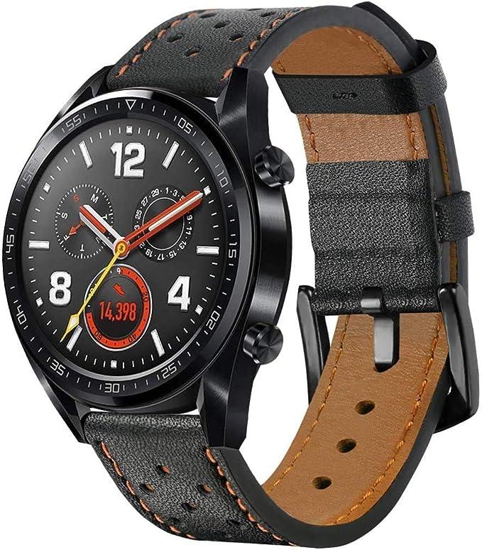 Imagen deSPGUARD Correa Compatible con Correa Huawei Watch GT2 46mm Huawei Watch GT 2e Correas,Pulsera de Repuesto de Cuero de 22mm para Huawei GT2 46mm/Huawei GT 2e/Huawei Watch GT 46mm-Marrón
