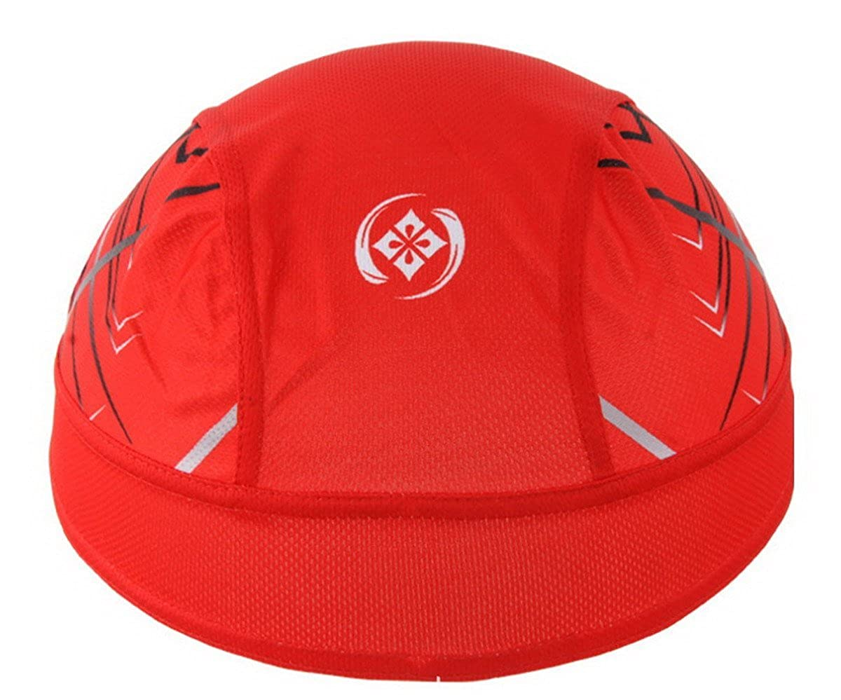 Sport Headwear rapidement sec Sun Protection UV Cyclisme Bandana Courir Beanie Bike Moto Cap Sous-casque rouge