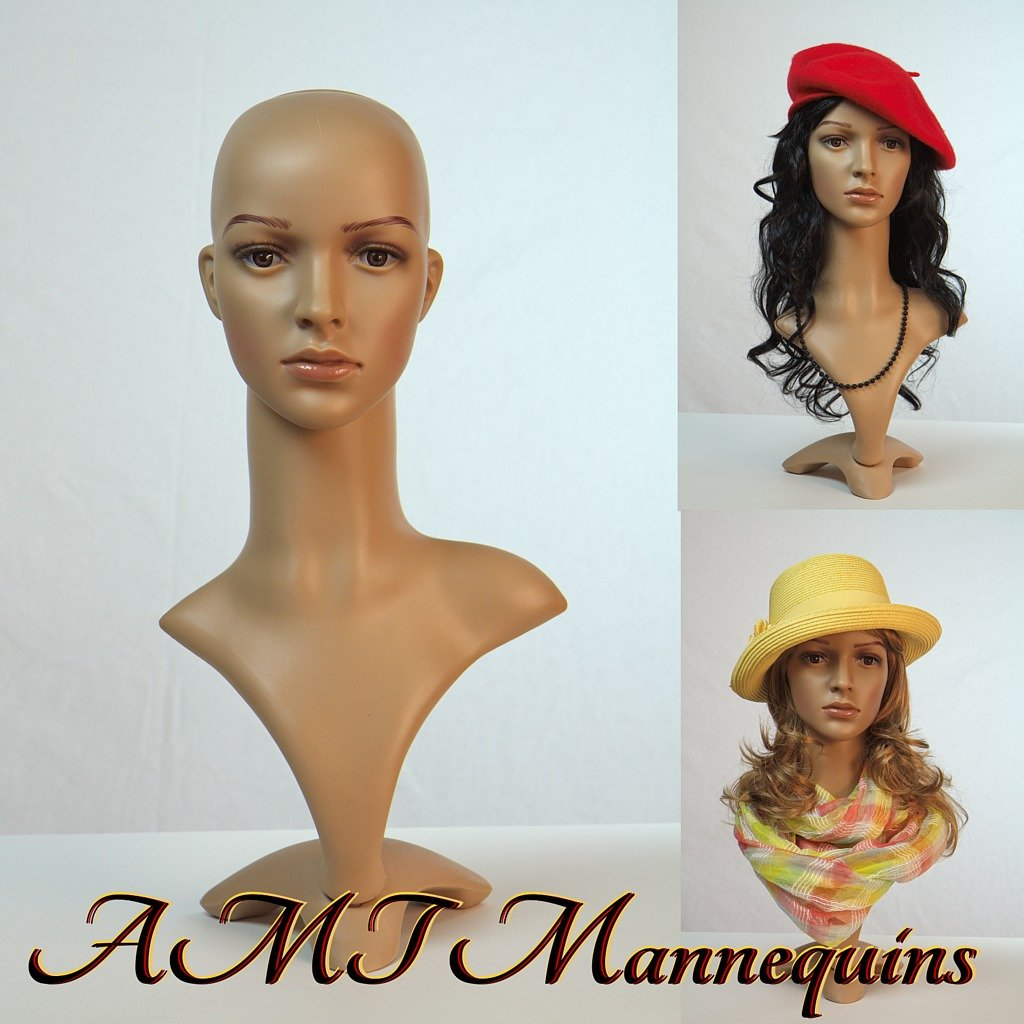 Realistic Female Mannequin Head with Base with 2 Wigs AMT Mannequins FD-02_Head+2W