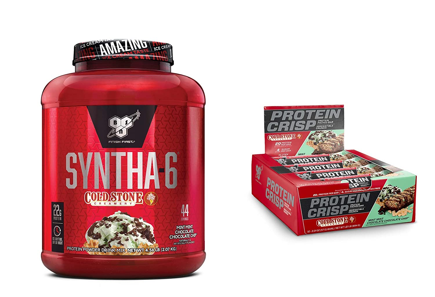 BSN Syntha-6 Whey Protein Powder, Mint Mint Chocolate Chocolate Cake Flavor 44 Servings with BSN Protein Crisp Bar, Mint Mint Chocolate Chip-Low Sugar Whey Protein Bar, 20g of Protein 12 Count
