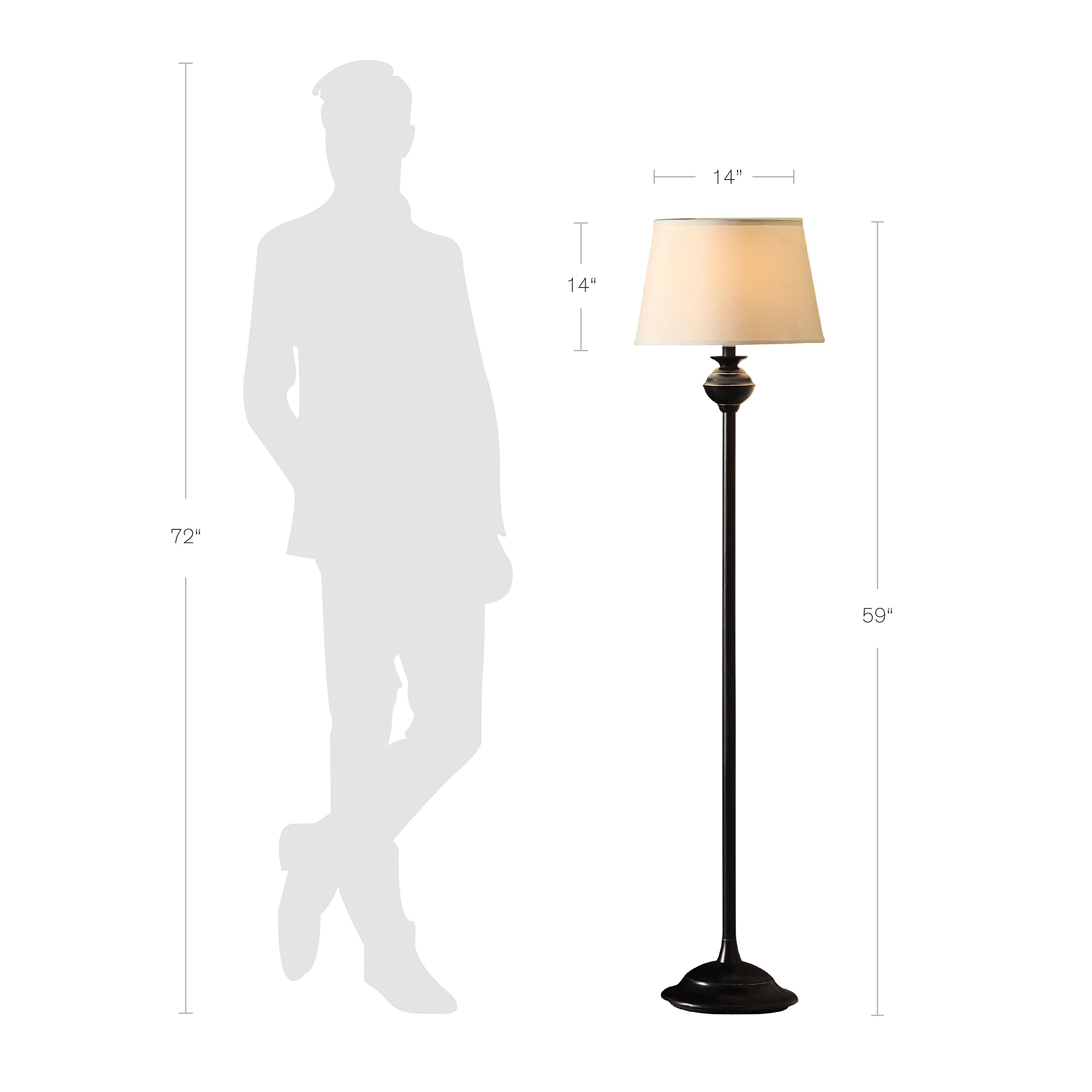 Catalina Lighting 18079-001 Traditional 3-Piece Metal Floor & Table Lamp Set with Linen Shades, Without Bulb, Black Classic by Catalina Lighting (Image #5)