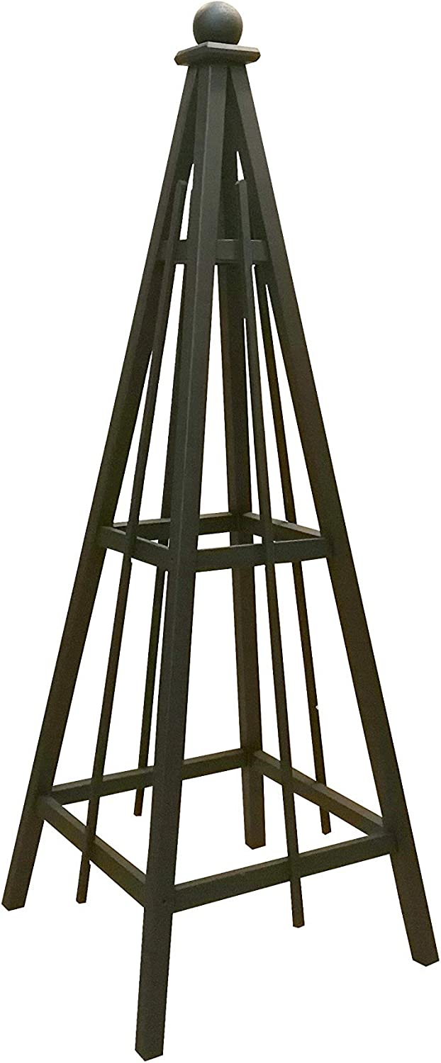 "Woodbrute Black Obelisk Trellis Garden Tower, 70"" Tall, Pine Obelisk with Solid Black Slate Stain, Solid Wood Vertical Gardening Structure for Plant Support and Garden Design. 70"" Tall with 24"" Base."