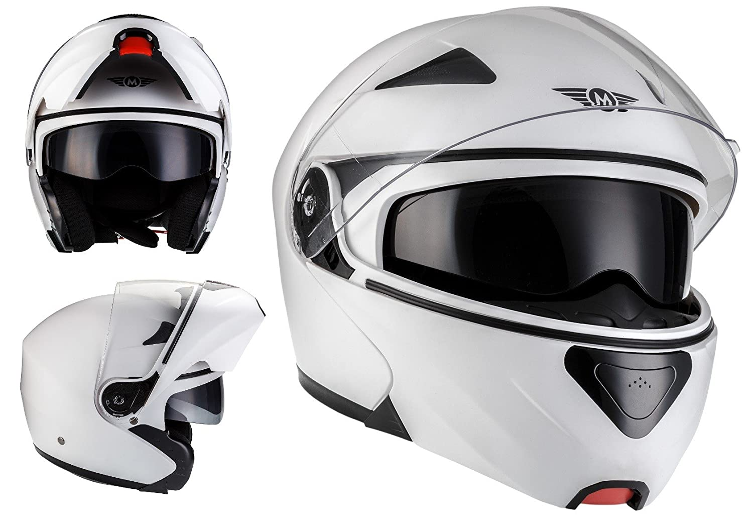 61 two Visors /· incl MOTO F19 Gloss Black /· Cruiser Motorcycle-Helmet Full-Face Helmet Modular-Helmet Scooter-Helmet Street Moto-Helmet Scooter-Helmet Flip-Up Helmet /· ECE certified /· incl Cloth Bag /· Black /· XL