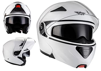 MOTO F19 Matt White · Urban Flip-Up Integrale Moto Sport Casco da motocicletta modulare