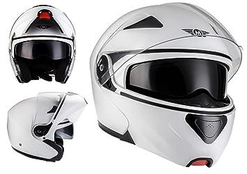 MOTO F19 Matt White · Modular-Helmet Integrale Urban Casco da motocicletta modulare Scooter Urbano
