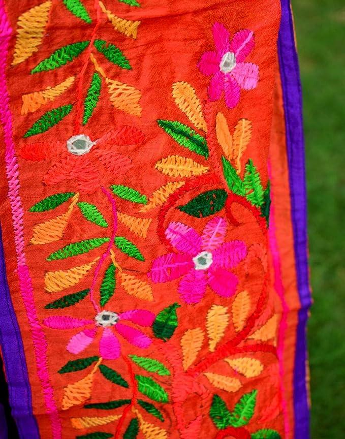 GiftPiper Chanderi Hand Embroidered Stole-Orange 2