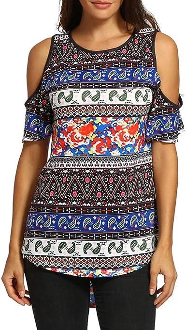 Camisa de Mujer Ropa De Mujer Blusa De Mujer Elegante Verano Camisa de Mujer Camiseta De Estampado Floral Blusas De Manga Corta con Blusa De Hombro S-XXL: Amazon.es: Ropa y accesorios