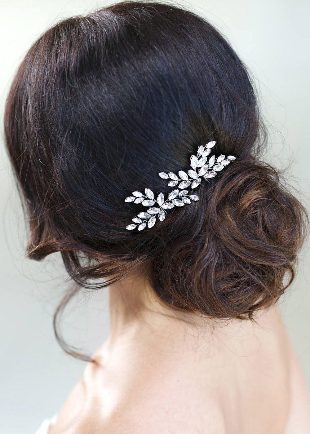 Kercisbeauty Horquillas para el cabello decoradas con una hoja plateada adornada con cristales, estilo nupcial, vintage, accesorio de regalo para boda, juego de 2 unidades