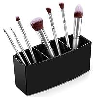 Syntus Makeup Brush Holder Organizer, Acrylic 3 Slot Large Capacity Cosmetic Brushes Storage Box, Black