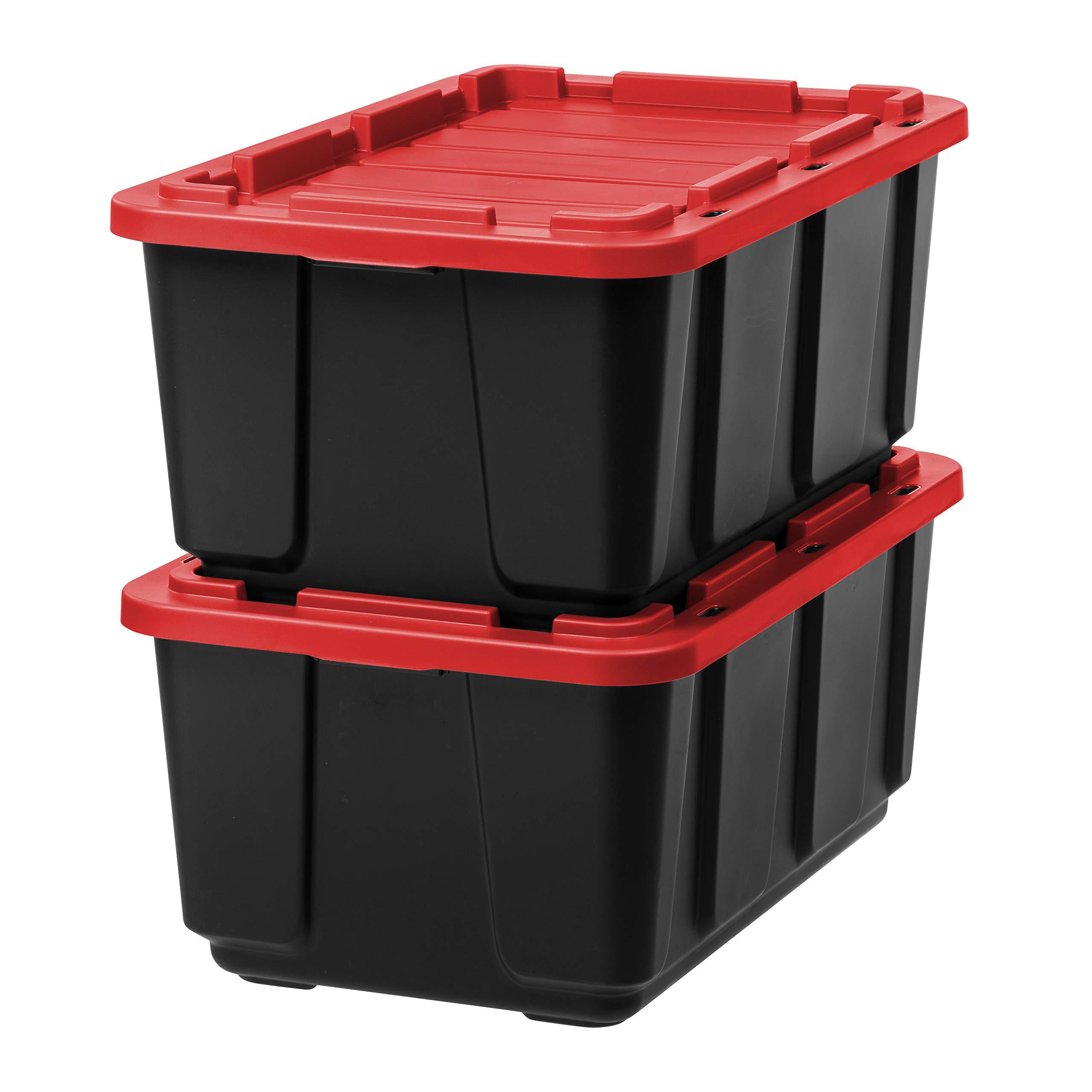 IRIS USA, Inc. UTB-27 27 Gallon Utility Tough Tote, 2 Pack, Red/Black by IRIS USA, Inc.