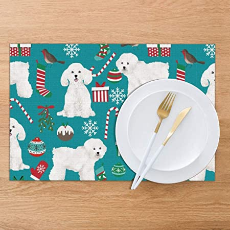 - Bichon Frise Christmas by petfriendly Bichon Frise  Dog Puppy Dog Lover Cloth Placemats by Spoonflower Set of 2 Christmas Placemats