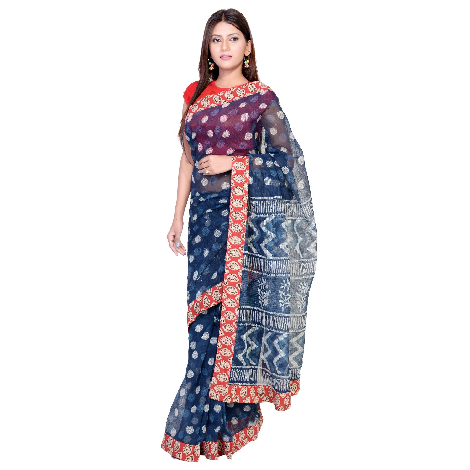 331f112cd21d6a Panvi Kota Doria Cotton Saree With Blouse Peice (Hand Block Printed Indigo  Blue&Bagru Print lace P-95_Free Size): Amazon.in: Clothing & Accessories