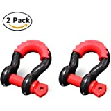"""Shackles 3/4"""" (2 PACK) RETECK D ring Shackle Rugged 4.75 Ton (9,500 Lbs) Capacity with 7/8'' Pin Bow Screw Heavy Duty D Ring for Jeep Vehicle Recovery with Isolator, Black + Red Pin"""