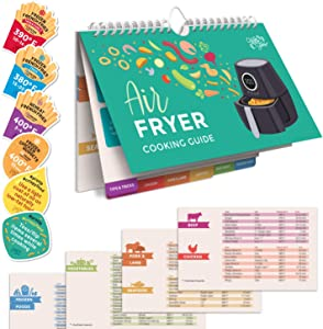 Willa Flare Air Fryer Cheat Sheet Cooking Times Reference Guide for 80 Foods - Magnetic Flip Chart and 6 Vinyl Decal Stickers | Perfectly Fry Family Favorites like Pizza, Chicken Nuggets, French Fries