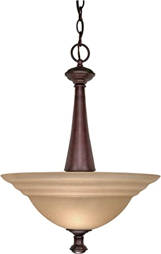Nuvo Lighting 60 2418 Mericana 2-Light Bowl Pendant with Amber Shades, Old Bronze