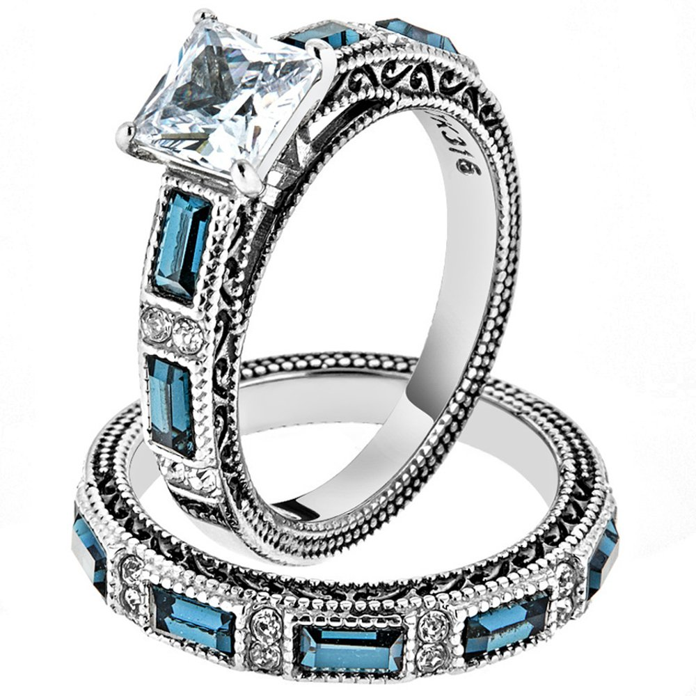 Women's Stainless Steel 316 Cubic Zirconia Antique Design Wedding Ring Set Size 7
