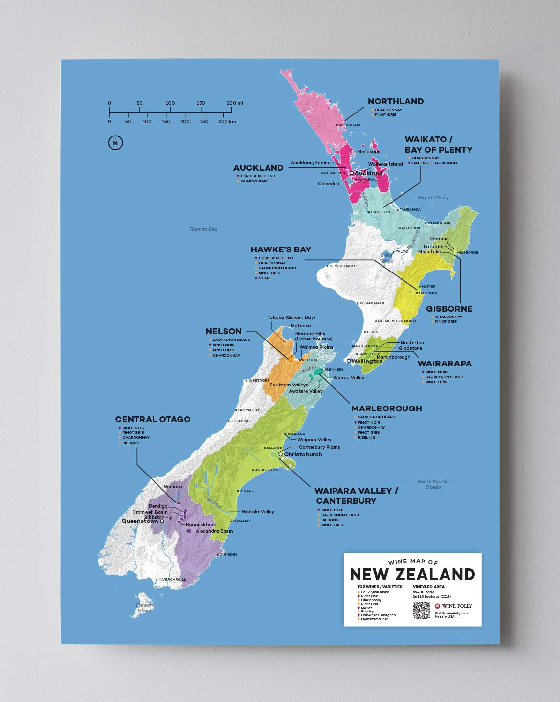 12 x 16 Wine Folly New Zealand Wine Map Poster Print