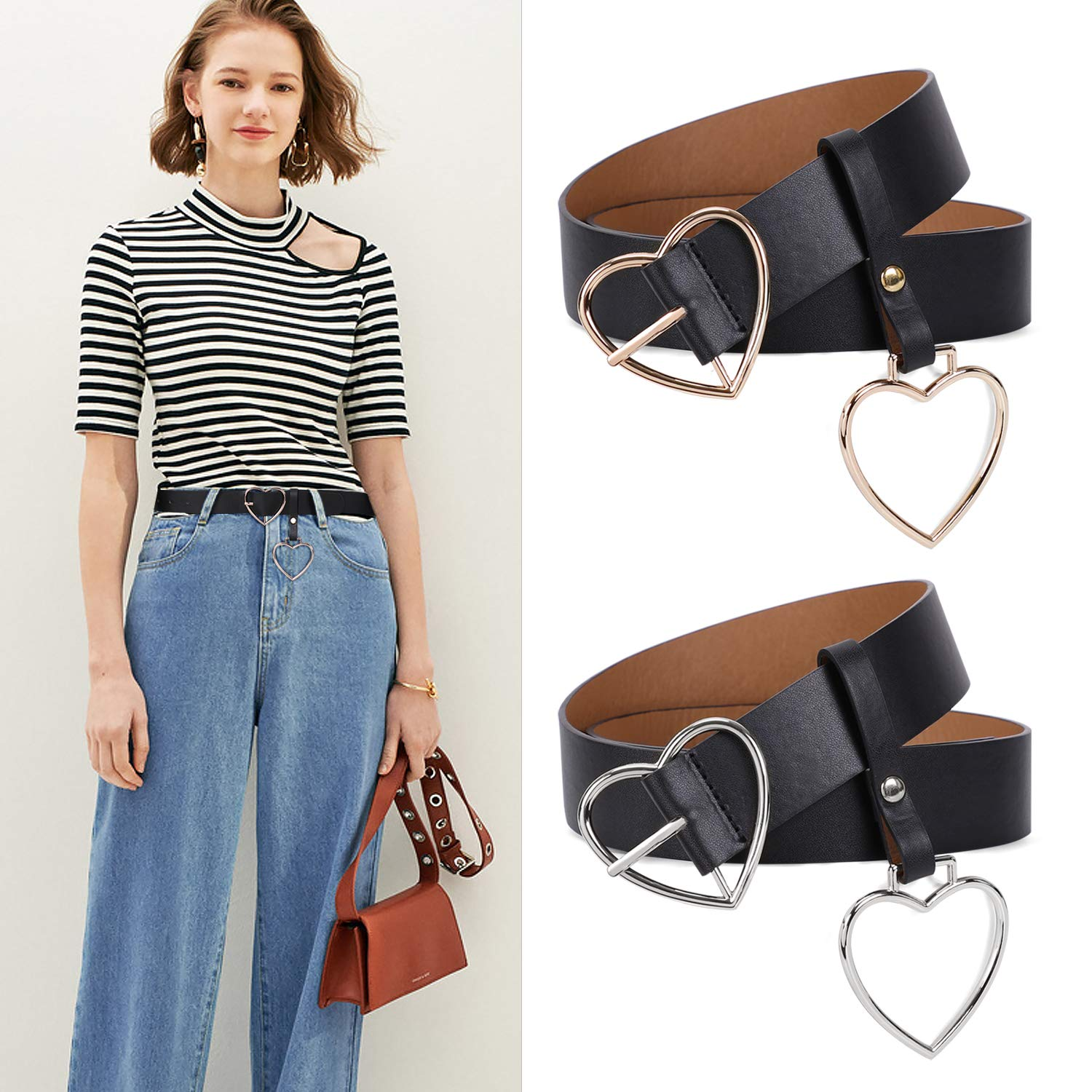 Women Wide Leather Belt Heart-shaped Belt Silver Metal Buckle for Women Girls Students Jeans Shorts Ladies Dress