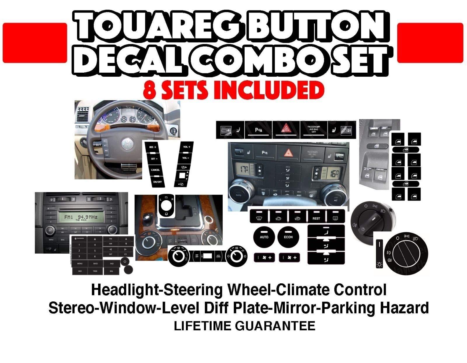 Fits VW Touareg Set of Decals Radio AC Window Buttons Steering Wheel Hazard