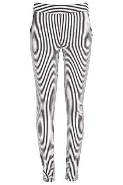 edfc62214 Crepe Black and White Striped Trousers Pants with Pockets (US Size 6 - UK 8