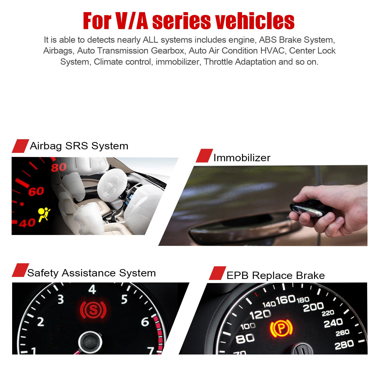 ANCEL VD500 OBD II Diagnostic Scanner for Volkswagen VW Audi Skoda Seat Diagnosis Check Engine Light EPB ABS SRS Code Reader Oil Throttle Position Adaption Brake Pad Reset Tool by ANCEL (Image #3)