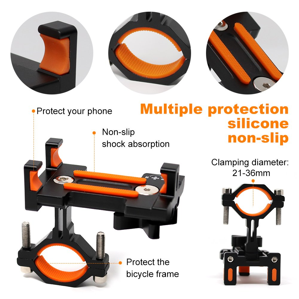 Sporcis Bike Phone Mount, Bicycle Motorcycle Handlebars Mobile Phone Holder with 360 ° Rotation Adjustable, Fits iPhone X, 8 | 8 Plus, 7 | 7 Plus, iPhone 6s | 6s Plus, Galaxy S7/ S6/ S5 by Sporcis (Image #2)