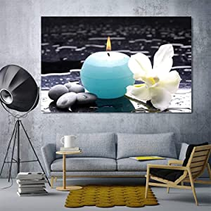 Blue Candle and White Flowers Zen Spa Wall Art Modern Decor Hd Canvas Paintings (24x36 inch,Framed)