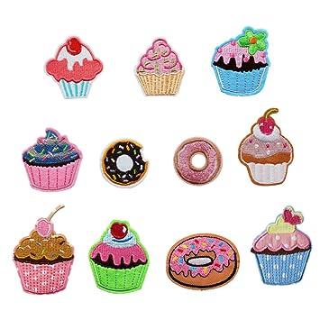 11pcs Cartoon Cake Applique bordado ropa accesorios hierro en parche para manualidades pantalones vaqueros ropa para coser en vestido chaqueta Mochila ...
