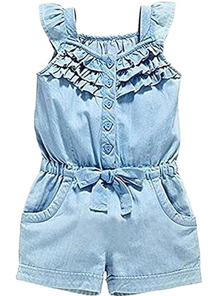 0ec84a5ec8f7 Amazon.com  Jeleuon Baby Girl Kids Summer Sleeveless Denim Overalls ...
