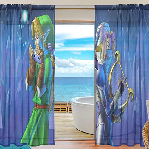 Meroy Fowler The Legend of Zelda Tulle Curtain Sheer Curtains Drapery Window Treatment Curtain 2 Panels Each 55 x 84 Inch