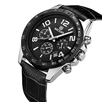 Amazon.com: Realke Mens Luxury Business Leather Band Movement Quartz Analog Display Calendar Date Chronograph Waterproof Wrist Watch (Black): Watches