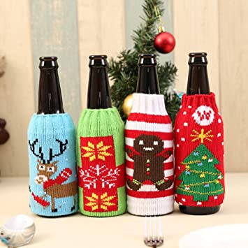 49fcc87108a7 Sale - Christmas Snowman Deer Knitting Stockings Candy Gift Bags Beer Wine  Bottle Cover Set Decor