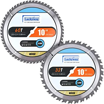 Luckyway 2 Pack 10 Inch Miter Table Saw Blades 32t 60t With 5 8 Inch Arbor Tct Circular Saw Blade For Cutting Wood Amazon Com